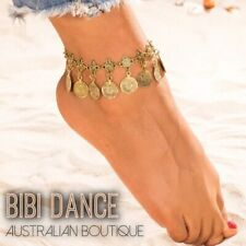 Bellydance Costume Jewellery, Gold Boho Coin Charm Anklet, Tribal Belly Dance