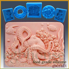 Octopus on Coral Reef - 2D Soap/sugar/fondant/chocolate Silicone Mold