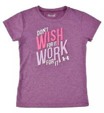 Under Armour Girls Purple Don't Wish For It Work For It Dry Fit Top Size 5