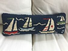 CHANDLER 4 CORNERS by LAURA MEGROZ Hooked Nautical Sailboats Theme Pillow