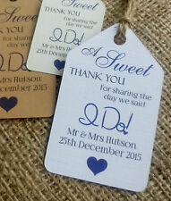 """10 Personalised Wedding Favour Gift Tags """"A Sweet Thank You"""" Guest Label"""