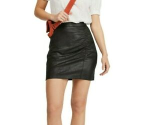 Free People Rumi Ruched Faux Leather Mini Skirt Womens Small Balck NWT
