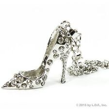 Silver Bling High Heel Shoe Rear View Mirror Car Charm Ornament Clear Rhinestone