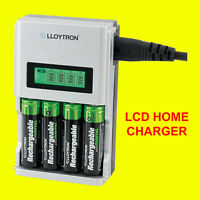 Lloytron B1504 1Hour SUPER FAST LCD AA or AAA Mains Battery Charger NiMh / NiCad