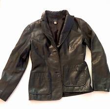Vintage GAP Black Leather Blazer Jacket Coat Women's XS Fully Lined EUC