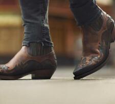 Mens New Fashion Pointy Toe Elastic Top Mid Heel Western Cowboy Boots Shoes SKGB