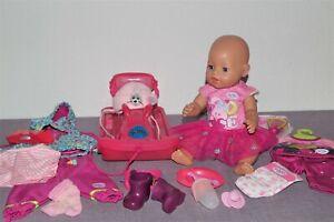 Baby Born Mädchen v. Zapf, 43 cm, Schlitten, schöne Kleidung  + Zubehör