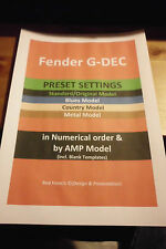 Fender GDEC- All 4 Model Sets(see ad list)- 400 PRESETS + TEMPLATE (Secured PDF)