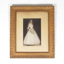 Vtg picture frame plaster acanthus leaf oak wood grain