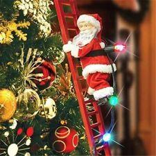 Christmas Electric Santa Claus Climbing Ladder Music Xmas Tree Doll  Decor Kid