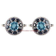 Natural Blue Topaz & Sapphire Gemstones  925 Sterling Silver Cufflinks For Men's