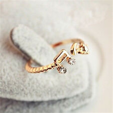 FD308 Women Girl Princess Queen Open Ring Rhinestone Notes Diamond Gold Ring G