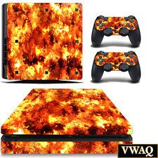 PS4 Slim Decal Flame Skin Sony Playstation 4 Slim Sticker Fire Skin VWAQ-PSGC3