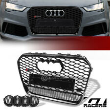 For 2012-2015 Audi A6 C7 Black Chrome Rs Honeycomb Mesh Front Hood Bumper Grille