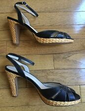 Ann Taylor Loft size 8 Black Leather Ankle Strap Woven High Heels Shoes
