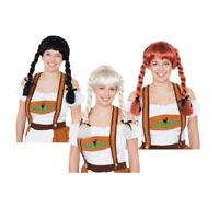 Fraulein Pigtail Wig Black/Blonde/Auburn Oktoberfest Bavarian Fancy Dress Party
