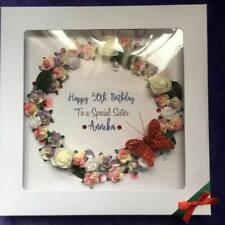 """Luxe Personnalisé Femmes Floral Wreath Carte d/'anniversaire dans un coffret Grand 8/"""" Square"""