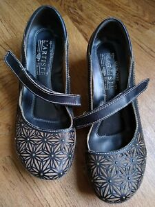 L'Artiste by Spring Step Finlandia Clogs Mary Janes Brown Leather US 5 / EU 35
