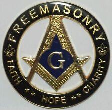 Freemason Faith, Hope, Charity Cut Out Car Emblem in Black & Gold