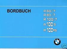 BMW Bordbuch / Betriebsanleitung R 100 80 60 RS /7 S : R100, R100/7, R80/7 neu