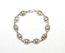 "Vintage 925 Silver RENNIE MACKINTOSH STYLE ROSE FLOWER BRACELET 13.8g 7.5"""
