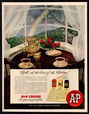 1952 A&P Coffee - Rainbow - Roses -  Retro Original VINTAGE ADVERTISEMENT