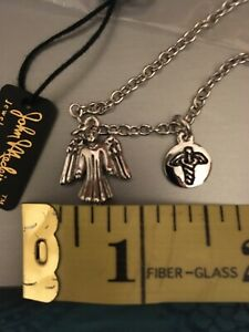 Guardian Angel Lariat Necklace Delight Jewelry Large Family Heart with Clear Crystal