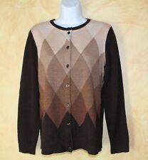 Pendleton Brown Fantastic Argyle Merino Wool Cardigan Sweater Sz PS S