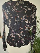TED BAKER Jean fitted Black floral long sleeved Blouse Top, Size 1