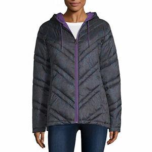 nwt org$100 xersion reversible blk/purpuffer jacket hooded lightweght jacket XLG
