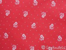 Dirndlstoff ♥ rot Blümchen + Punkte@Baumwolle Trachten Stoff ♥ Schürzenstoff