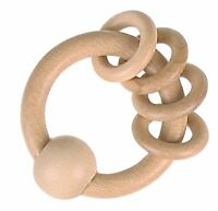 Heimess TOUCH RING RATTLE + 4 RING RATTLES, NATURAL WOOD Baby Wooden Toy BN