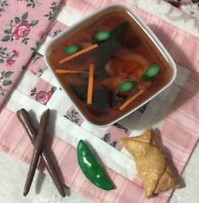 A.G.CREATION Doll Play Food: 4 Piece Homemade Wonton Soup With Egg roll Set