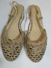 Stuart Weitzman Gold Woven Leather Sandals Flats Shoes 10.5 M