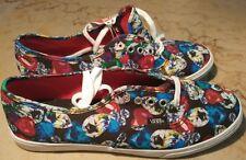VANS Women Size 8 Shoes Black Canvas Hearts & Diamonds Multicolor Colorful New