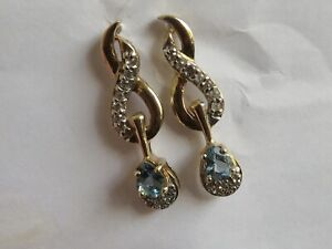 FABULOUS SANTA MARIA AQUAMARINE & DIAMOND EARRINGS IN YELLOW GOLD.