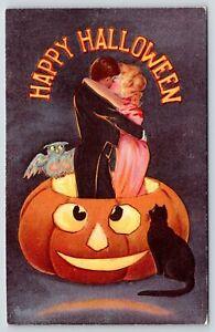 Halloween~Elegant Romantic Couple in Cross-Eyed Jack O Lantern~Owl~Black Cat