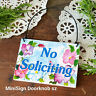 Door Hanger Mini Sign Ornament NO SOLICITING SIGN Put by doorbell New Pkg'd NEW