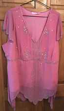 **~Plus Size Ladies Pink Sequin Sparkly Short Sleeved Blouse Size 32~**