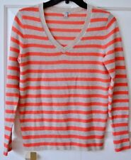 Halogen Womens S Small 2-Ply 100% Cashmere Striped V-Neck Sweater Long Sleeve