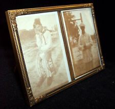 EXQUISITE OLD ART NOUVEAU PICTURE FRAME PORTRAIT TWO PHOTO FLOWERS CHAPLIN STYLE