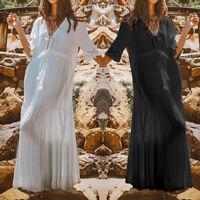 UK Women Lace V-neck Long Shirt Dress Ladies Casual Loose Beach Party Dress 8-26