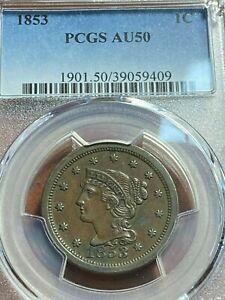 1853 Large Cent PCGS AU50 N-14 (R-3) Beauty, Scratch-Free Holder CHN