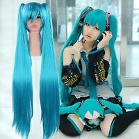Long Blue Hatsune Miku Vocaloid Anime Cosplay Party Full Wig Hair With Ponytails