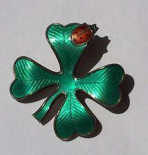 David Andersen Norway 4 Leaf Clover Shamrock Ladybug Sterling Silver Pin Enamel