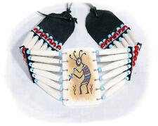 XXL Indianer CHOKER Kette Halsband BONE Hairpipes Perlen 32/65 cm. KOKOPELLI