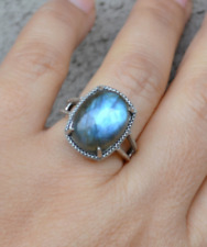 large stone ring, sterling silver ring, Labradorite Ring, large labradorite (R40