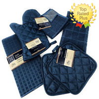 Kitchen Towel Set Pot Holders, Oven Mitt, Dish Towel, Dish Drying Mat Dark Blue