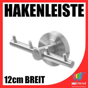 Edelstahl 4 Haken Hakenleiste Bad WC Küche | 12 cm Breit | Tuch Handtuch NEU WOW