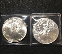 EM36 2 Important Silver Eagles First Year 1986 & 2020 The Last Year Ex Condition